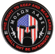 MOLON LABE THE RIGHT TO KEEP AND BEAR ARMS SPARTAN ROUND PATCH - Colour - Veteran Owned Business.