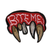 Bite Me Vampire Monster Fangs Patch Embroidered Iron On Applique