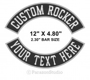 Custom Embroidered 30cm Top/Bottom Rocker Sew on Patch MC Biker Badge (F)