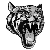 LARGE TIGER HEAD TATTOO STYLE DESIGN BLACK-WHITE EMBROIDERED IRON-ON DECORATIVE PATCH JACKET EMBLEM 30cm x 24cm