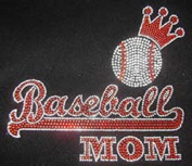 Baseball Mom Rhinestone Iron on Hot Fix Motif Applique heat Press Patch Sports Mom