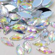 .   Horse Eye Shape Crystal AB Colour Clear Sew On Acrylic Rhinestones Flatback Fancy Crystal Stones Sewing For Clothing Dress Decorations 6x12mm 300pcs