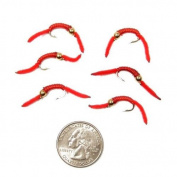 Trout Nymph Fly - San Juan Worm Power Bead 1/2 Dozen Gold Bead Red V-Rib #10 Nymph Wet Flies