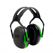 3M Peltor X-Series Over-the-Head Earmuffs, NRR 22 dB, One Size Fits Most, Black/Green X1A