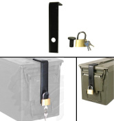 Ultimate Arms Gear Mil-Spec Ammo Can Steel Safe Lock Fits 60mm, 40mm, 20mm, 50 cal and 30 cal Box Cans, 3pc Hardware Kit System Includes L-Shaped Bracket Hinge, Bolt & Lock with Keys