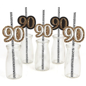 Adult 90th Birthday - Gold - Birthday Party Straw Decor with Paper Straws - Set of 24