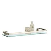 60cm L x 14cm W x 5.1cm H Glass Shelf with Nickel Rail by Neu Home