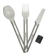 Esbit Unisex 3PCE Titanium Cutlery Set, Silver