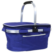 Charles Bentley Blue Picnic 30L Insulated Folding Picnic Cooler Cool Bag Holds 45 Cans Lightweight Aluminium Handles Camping Shopping Hamper Basket Bag Box