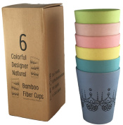 Unique Designer Cups (6) for Hot/Cold liquids. Colourful Natural Bamboo Fibre. Eco Friendly and Biodegradable. Ideal for Adults and Children in the Home or Outdoors for Picnics, Poolside, Camping....