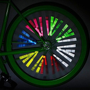 HuntGold Spoke Bicycle Caution Decals 12pcs Clip Tube Reflective Wheel Stripe Stickers
