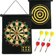Roll Up Extra Large Double Sided Magnetic Dart Board Indoor 6 Darts Kids Game