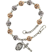 Sterling Silver Rosary Bracelet 6mm Sterling Silver Corregated beads, Crucifix sz 5/8 x 1/4.