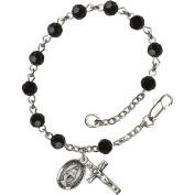 Sterling Silver Rosary Bracelet 5mm Black beads Crucifix sz 5/8 x 1/4.