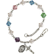 Sterling Silver Rosary Bracelet 6mm Multi-Colour Rundell beads, Crucifix sz 7/8 x 3/8.