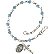 Sterling Silver Rosary Bracelet 4mm March Blue beads, Crucifix sz 1/2 x 1/4.