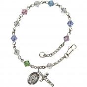 Sterling Silver Rosary Bracelet 5mm Multi-Colour Rundell-Shaped beads, Crucifix sz 5/8 x 1/4.