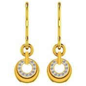 JewelsForum 14Kt Yellow Gold Drop Earrings with Dimaond Studs 0.22 Carat TCW