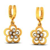 JewelsForum Diamond Flower Shaped Drop Earrings in 14Kt Yellow Gold 0.1 Carat TCW