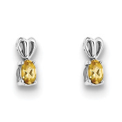925 Sterling Silver Rhodium-plated Polished Oval Cut Citrine Post Earrings