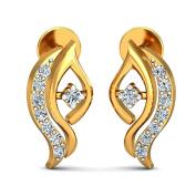 JewelsForum Yellow Gold Earrings with diamond studs in 14Kt 0.16 Carat TCW