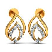 JewelsForum Yellow Gold in 14Kt and Diamond Studded Earrings 0.2 Carat TCW