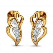 JewelsForum Heart Shaped Yellow 14Kt Gold and Diamond Earrings 0.16 Carat TCW