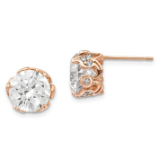 10K Pink Rose Gold Tiara Collection Round CZ Fancy Post Earrings