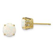 10K Yellow Gold Tiara Collection Created Opal Diamond Post Earrings