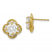 10K Yellow Gold Tiara Collection Polished Round CZ Flower Post Earrings