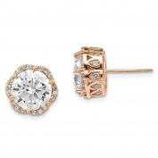 10K Pink Rose Gold Tiara Collection Polished Round CZ Crown Post Earrings