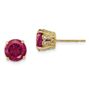 10K Yellow Gold Tiara Collection Polished Created Ruby Diamond Post Earrings