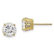 10K Yellow Gold Tiara Collection Created White Sapphire Diamond Post Earrings