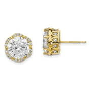 10K Yellow Gold Tiara Collection Polished Round CZ Crown Post Earrings