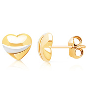14 GOLD TWO TONE HEART PUSH BACK EARRINS