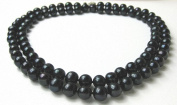 Two Strand 8.5 - 9.5mm Dyed Black Genuine Freshwater Cultured Strung Pearl Strand Necklace alloy clasp -nk54
