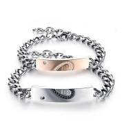 Blowin Valentines Day Gift Stainless Steel His and Hers Couple Matching Heart Love Bracelets