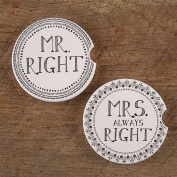 Natural Life Wedding and Annniversary Car Coasters - Set of 5.1cm Mr. & Mrs. Right""