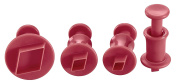 Lurch Germany Diamond Shaped Plunger Cutters Set of 4, Ruby Red