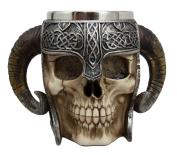 Atlantic Collectibles Viking Ram Horned Pit Lord Warrior Skull With Battle Helmet Beer Stein Tankard Coffee Cup Mug