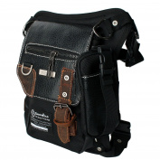 Hengyun Leatherette Tactical Drop Leg Bag Canvas Fanny Pack Waist Pack Hunting Bag, Thigh Pack Waist Belt Bag, Black Style D