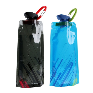 Collapsible Water Bottle Bag 700ML Portable Reusable Water Bag Water Container BPA Free Outdoor Sports Canteen Water Carrier for Hiking Travelling Camping Climbing, Pack of 2(Blue & Black)