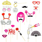 Bachelorette Party Photo Booth Props,Bride-To-Be Bridesmaid Girls Night Out,22-Piece Variety Pack, for Multiple Uses,Favours for Fun Selfies,Group and Video Photos,Mask/Tiara/Moustache/Lips