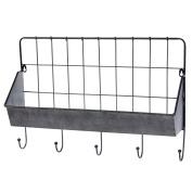 """Skalny 84705 60cm x 15cm X16"""" Rectangle Metal Wall Shelf W/Hooks"""