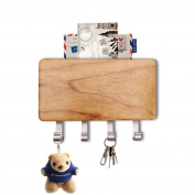 Wooden Four Hook Key Rack, Segarty Wall Mount Mail Letter and Key Rack Holder Organiser for Office, Entryway, Kitchen with Dry-Erase Board - Newspaper Magazine Holder Coat Rack