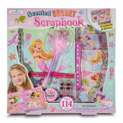 Scrapbook Kit For Girls - Starter Scrapbooking Set For Beginners In Mermaid Theme - Gift Includes Scented Scrapbook With Lock, 3D Stickers, 24 Jewels, 1 Feather Pen, 1 Craft Tape, 1 Pencil Pouch