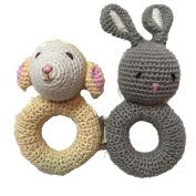 Cheengoo Organic Crocheted Ring Rattles - Bunny and Lamb Bundle