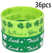 St. Patrick's Day Shamrock Rubber Wristbands Bracelets - Party Favours Supplies Gifts Decorations