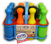 Matty's Toy Stop 10 Pin Multi-Colour Deluxe Plastic Bowling Set for Kids with Storage Rack - 12 Pieces Total