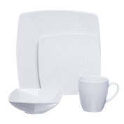 SQUARE 4-Piece White Porcelain DINNERWARE Set